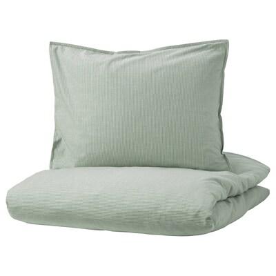 BERGPALM БЕРГПАЛМ Підковдра+2 наволочки, зелений/смужка, 200x200/50x60 см