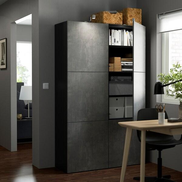 BESTÅ БЕСТО Комбінація д/зберіган з дверцятами, чорно-коричневий КАЛЛЬВІКЕН/темно-сірий під бетон, 120x42x193 см