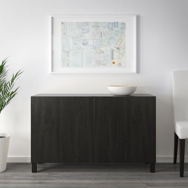 BESTÅ БЕСТО Комбінація д/зберіган з дверцятами, чорно-коричневий/ЛАППВІКЕН чорно-коричневий, 120x42x65 см