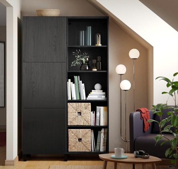 BESTÅ БЕСТО Комбінація д/зберіган з дверцятами, чорно-коричневий/ЛАППВІКЕН/СТУББ чорно-коричневий, 120x42x202 см