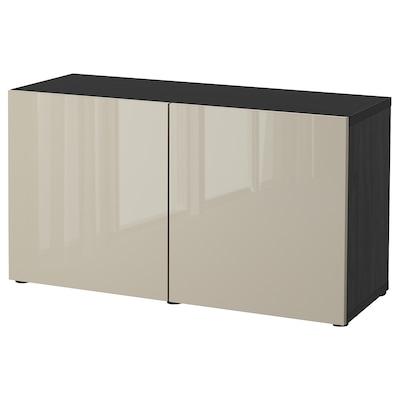 BESTÅ БЕСТО Комбінація д/зберіган з дверцятами, чорно-коричневий/СЕЛЬСВІКЕН глянцевий/бежевий, 120x42x65 см