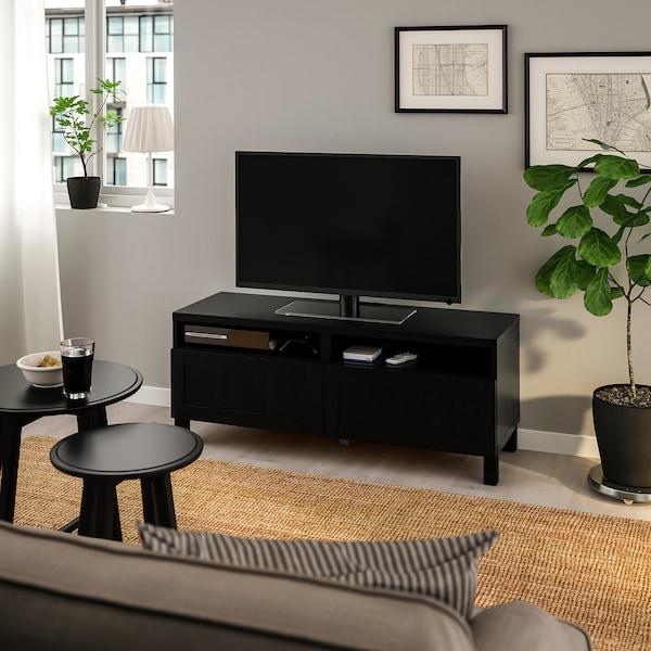 BESTÅ БЕСТО Тумба для телевізора з шухлядами, чорно-коричневий/ХАНВ/СТУББАРП чорно-коричневий, 120x42x48 см