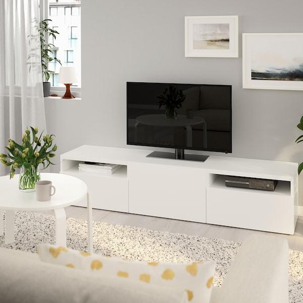 BESTÅ БЕСТО Тумба під телевізор, білий/ЛАППВІКЕН білий, 180x42x39 см