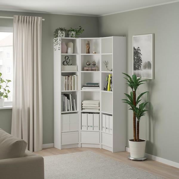 BILLY БІЛЛІ Комбінація з книжковою шафою/кутова, білий, 95/95x28x202 см
