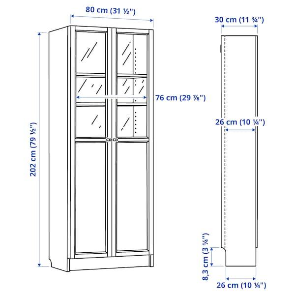 BILLY БІЛЛІ Стелаж панель/скляні дверцята, чорно-коричневий, 80x30x202 см
