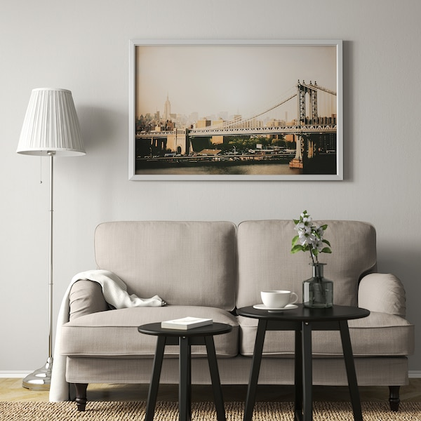 BJÖRKSTA БЬЙОРКСТА Картина з рамкою, Міст на Манхеттені/колір алюмінію, 118x78 см
