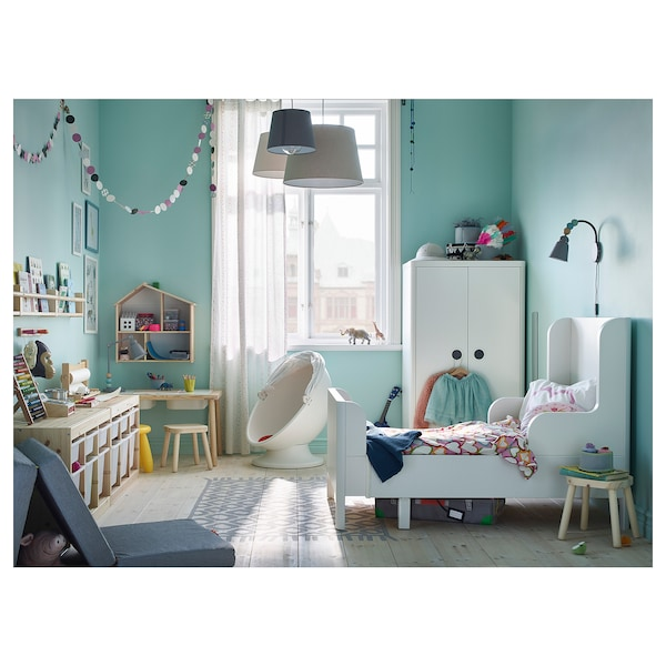 BUSUNGE БУСУНГЕ Розсувне ліжко, білий, 80x200 см