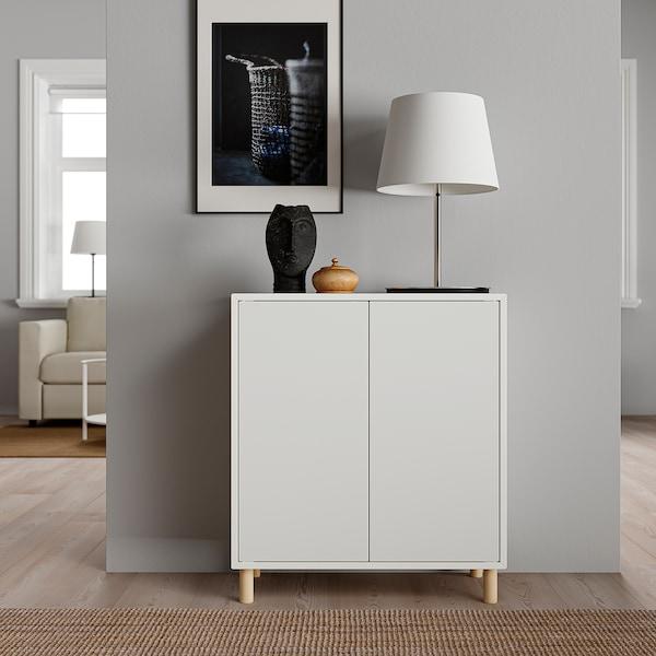 EKET ЕКЕТ Комбінація шаф із ніжками, білий/деревина, 70x35x80 см
