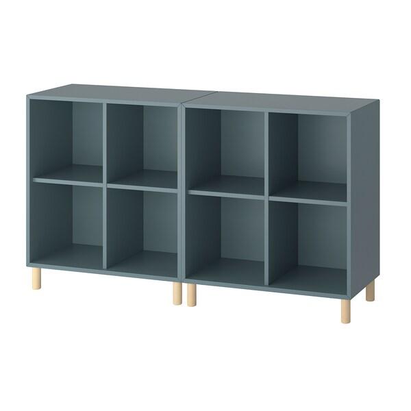 EKET ЕКЕТ Комбінація шаф із ніжками, сіро-бірюзовий/деревина, 140x35x80 см