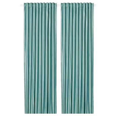 ELDTORN ЕЛЬДТОРН Світлонепроникні штори, пара, сіро-бірюзовий, 145x300 см