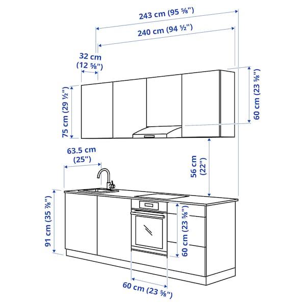 ENHET ЕНХЕТ Кухня, білий, 243x63.5x222 см