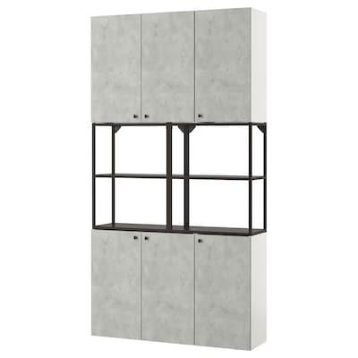 ENHET ЕНХЕТ Настінна комбінація для зберігання, антрацит/під бетон, 120x30x225 см