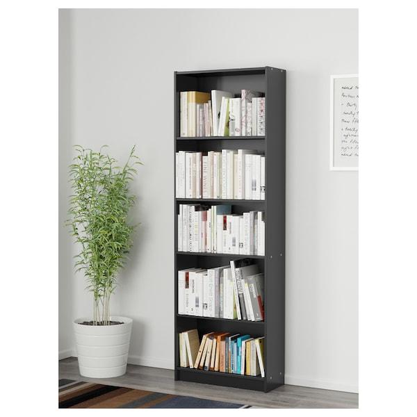 ФІННБЮ книжкова шафа чорний 60 см 24 см 180 см 13 кг