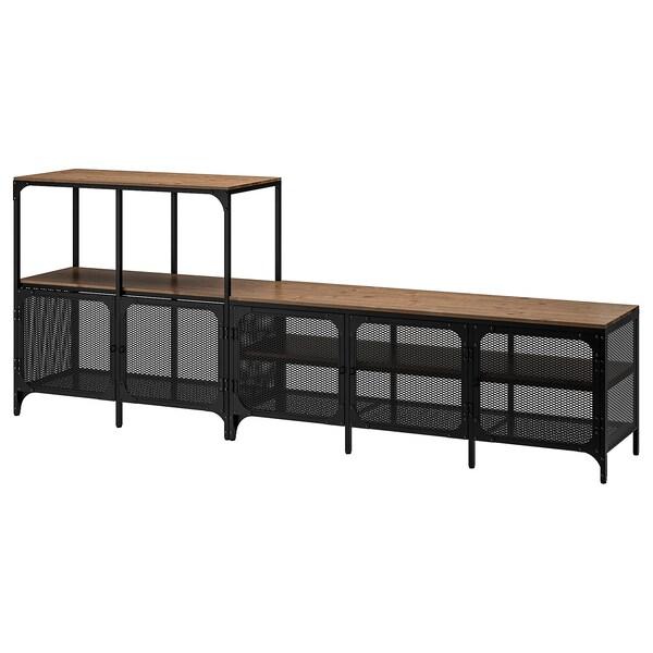 ФЙЕЛЛЬБУ комбінація шаф для телевізора чорний 250 см 36 см 95 см