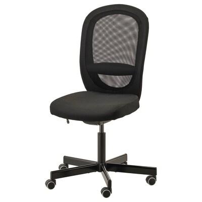 ФЛІНТАН офісний стілець ВІССЛЕ чорний 110 кг 74 см 69 см 102 см 114 см 47 см 48 см 47 см 60 см