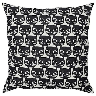 GERDIE ГЕРДІ Подушка, білий/чорний кіт, 40x40 см