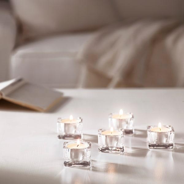 ГЛАСІГ підсвічник для свічки-таблетки прозоре скло 5 см 5 см 3.5 см 5 штук