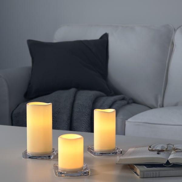 GODAFTON ГОДАФТОН LED формов свіч, кім/вул/нбр із 3шт, на батерейках/натуральний