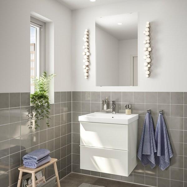 ГОДМОРГОН / ОДЕНСВІК меблі для ванної кімнати, набір 4шт глянцевий білий/DALSKÄR ДАЛШЕР змішувач 63 см 60 см 49 см 89 см