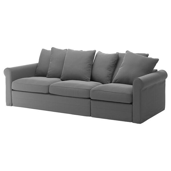 GRÖNLID ГРЕНЛІД Чохол для 3-місного дивана-ліжка, ЛЬЙУНГЕН класичний сірий