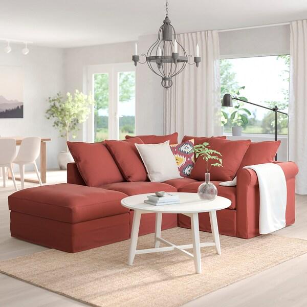 GRÖNLID ГРЕНЛІД Кутовий диван, 3-місний, з вікритою секцією/ЛЬЙУНГЕН світло-червоний