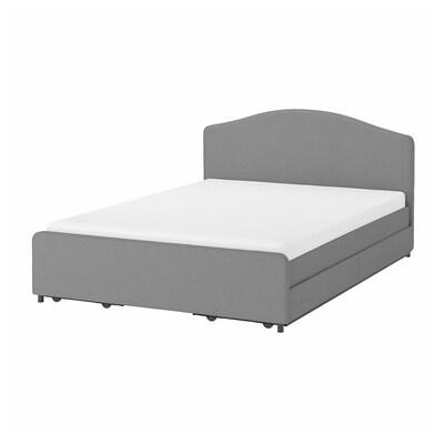 HAUGA ХАУГА Ліжко м'як оббивк, 4коробки д/збер, ВІССЛЕ сірий, 140x200 см