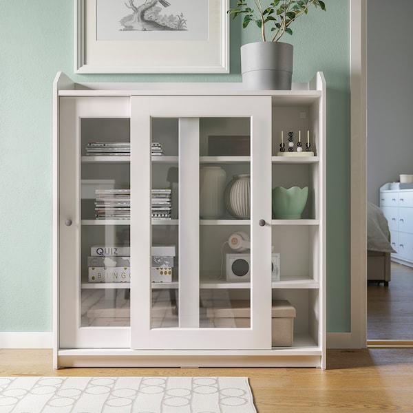 HAUGA ХАУГА Шафа зі скляними дверцятами, білий, 105x116 см