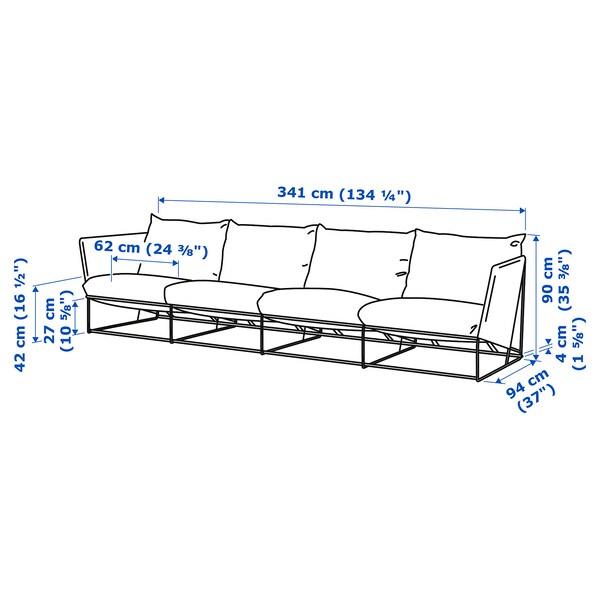 HAVSTEN ХАВСТЕН 4-місний диван, кімнатний/вуличний, бежевий, 341x94x90 см