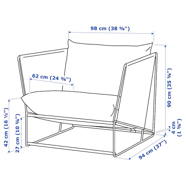 HAVSTEN ХАВСТЕН Крісло, кімнатне/вуличне, бежевий, 98x94x90 см