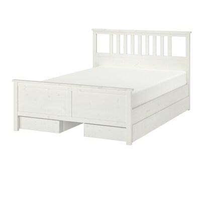 HEMNES ХЕМНЕС Каркас ліжка, 4 коробки для зберіг, біла морилка, 140x200 см