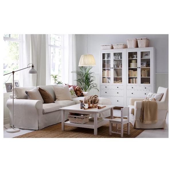 HEMNES ХЕМНЕС Шафа зі скляними дверц та 3 шухляд, біла морилка, 90x197 см