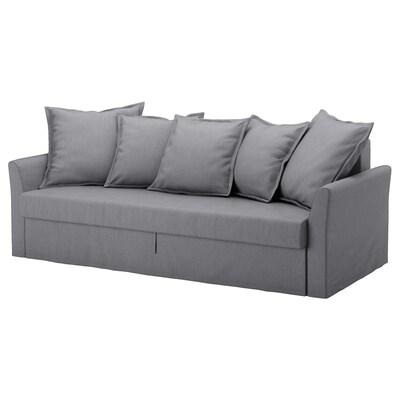 HOLMSUND ХОЛЬМСУНД 3-місний диван-ліжко, НОРДВАЛЛА класичний сірий