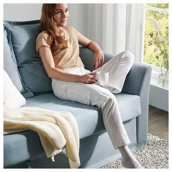 HOLMSUND ХОЛЬМСУНД 3-місний диван-ліжко, ОРРСТА світло-синій
