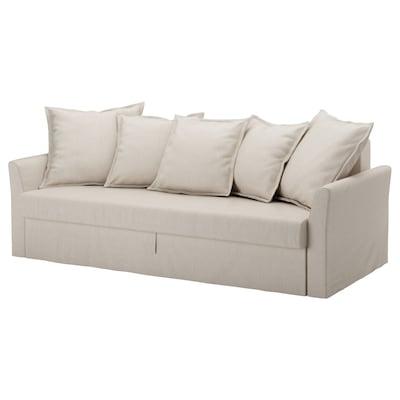 ХОЛЬМСУНД 3-місний диван-ліжко НОРДВАЛЛА бежевий 96 см 79 см 230 см 99 см 60 см 44 см 140 см 200 см