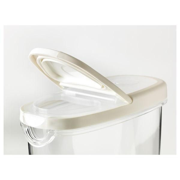 IKEA 365+ банка з кришкою для сухих харч прод прозорий/білий 17 см 8 см 18 см 1.3 л