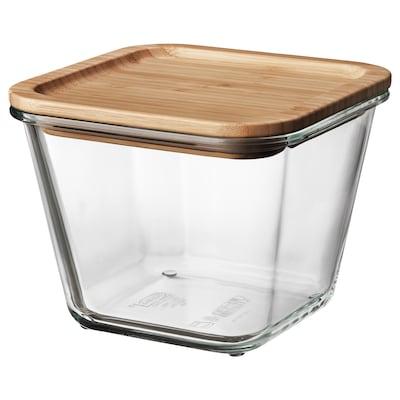 IKEA 365+ Харчовий контейнер із кришкою, квадратна форма скло/бамбук, 1.2 л