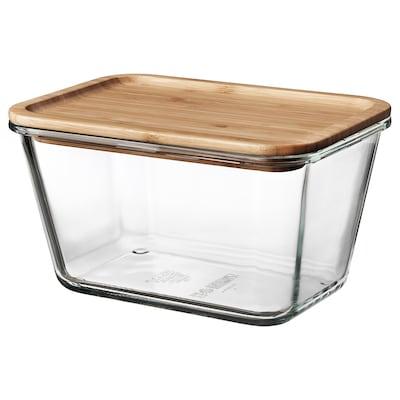 IKEA 365+ Харчовий контейнер із кришкою, прямокутний скло/бамбук, 1.8 л