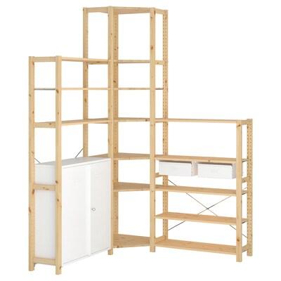 IVAR ІВАР 3 секції/кутовий, сосна/білий, 145/145x30x226 см