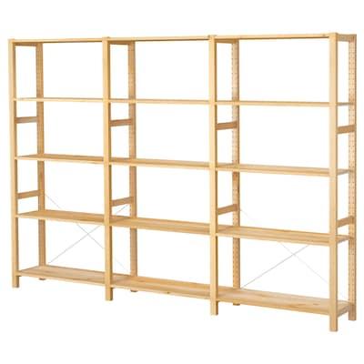 IVAR ІВАР 3 секції/полиці, сосна, 259x30x179 см