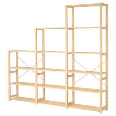 IVAR ІВАР 3 секції/полиці, сосна, 259x30x226 см