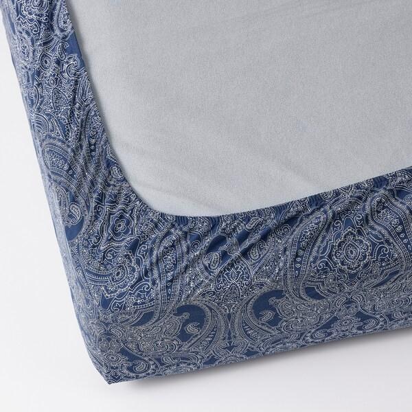 JÄTTEVALLMO ЯТТЕВАЛЛЬМО Простирадло на резинці, темно-синій/білий, 140x200 см
