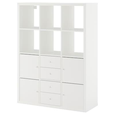 KALLAX КАЛЛАКС Стелаж, 6 вставок, білий, 112x147 см