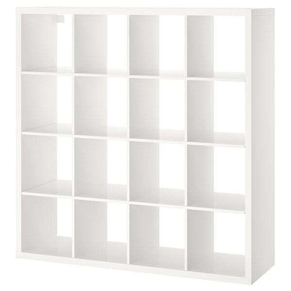 KALLAX КАЛЛАКС Стелаж, глянцевий білий, 147x147 см