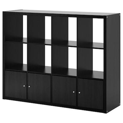 KALLAX КАЛЛАКС Стелаж із 4 вставками, чорно-коричневий, 147x112 см