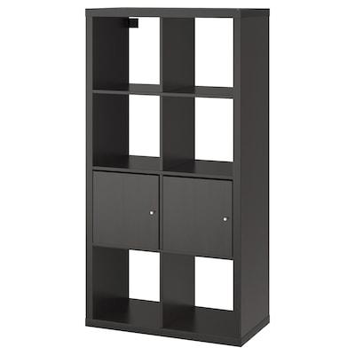 KALLAX КАЛЛАКС Стелаж із дверцятами, чорно-коричневий, 77x147 см