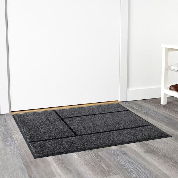 KÖGE КЕГЕ Килимок під двері, сірий/чорний, 69x90 см