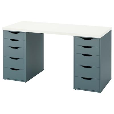 LAGKAPTEN ЛАГКАПТЕН / ALEX АЛЕКС Письмовий стіл, білий/сіро-бірюзовий, 140x60 см