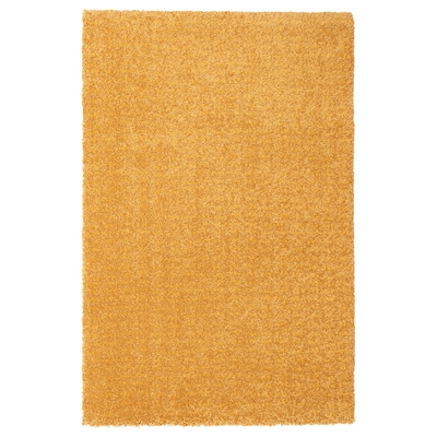 LANGSTED ЛАНГСТЕД Килим, короткий ворс, жовтий, 60x90 см