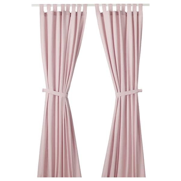 ЛЕНДА штори із зав'язками, 1 пара світло-рожевий 300 см 140 см 2.10 кг 4.20 м² 2 штук