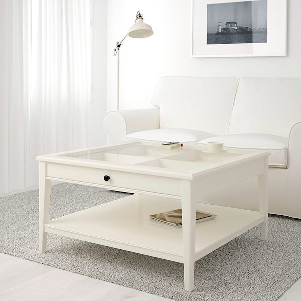 ЛІАТОРП Журнальний столик, білий/скло, 93x93 см